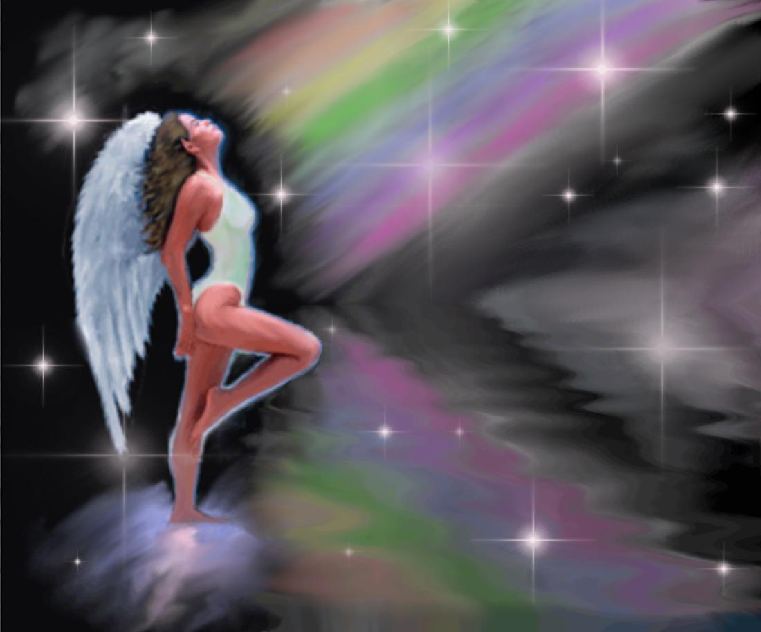Click to get the codes for this image. Angel With Rainbow, Angels and Fairies, Fantasy Background, wallpaper or texture for, Blogger, Wordpress, or any web page, blog, desktop or phone.