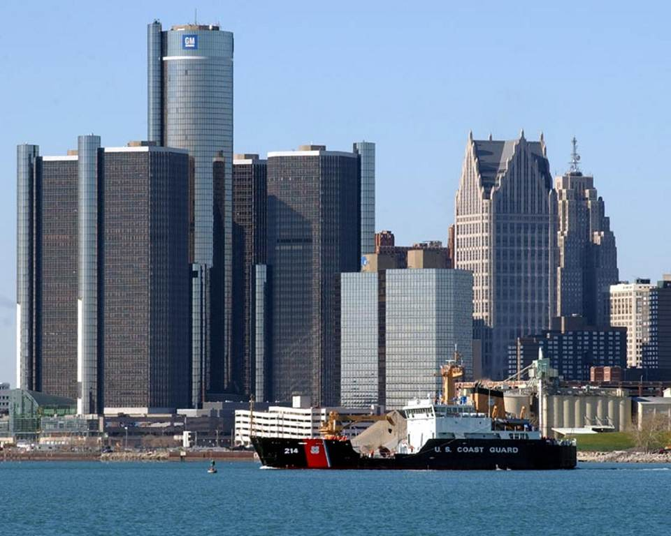 Click to get the codes for this image. Detroit Skyline With Coast Guard Boat, Cities  Buildings Background, wallpaper or texture for, Blogger, Wordpress, or any web page, blog, desktop or phone.