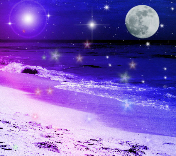 Click to get the codes for this image. Fantasy Beach Background Blue Purple 1800x1600, Fantasy, Ocean  Water, Colors  Blue, Colors  Purple Background, wallpaper or texture for, Blogger, Wordpress, or any web page, blog, desktop or phone.