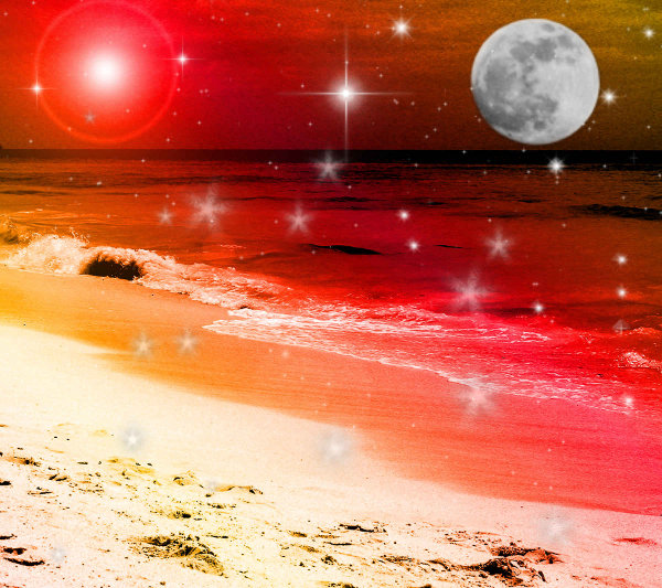Click to get the codes for this image. Fantasy Beach Background Red Orange 1800x1600, Fantasy, Ocean  Water, Colors  Orange, Colors  Red Background, wallpaper or texture for, Blogger, Wordpress, or any web page, blog, desktop or phone.