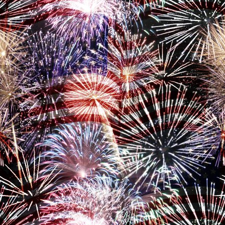 Click to get the codes for this image. Fireworks And Flag July 4 Tiled Background Wallpaper, Fourth of July, Patriotic,  New Backgrounds, Fireworks Background, wallpaper or texture for, Blogger, Wordpress, or any web page, blog, desktop or phone.