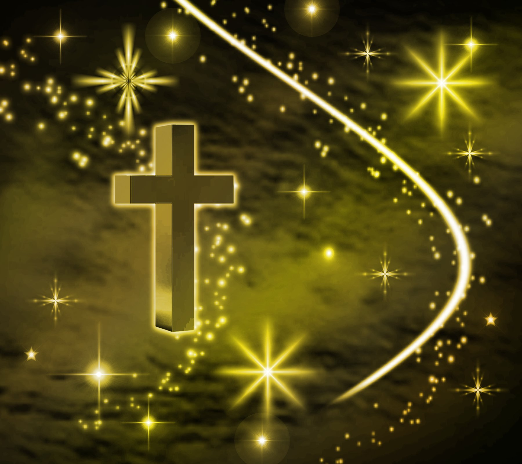 Click to get the codes for this image. Gold Cross With Stars Background 1800x1600, Christian, Colors  Yellow and Gold Background, wallpaper or texture for, Blogger, Wordpress, or any web page, blog, desktop or phone.