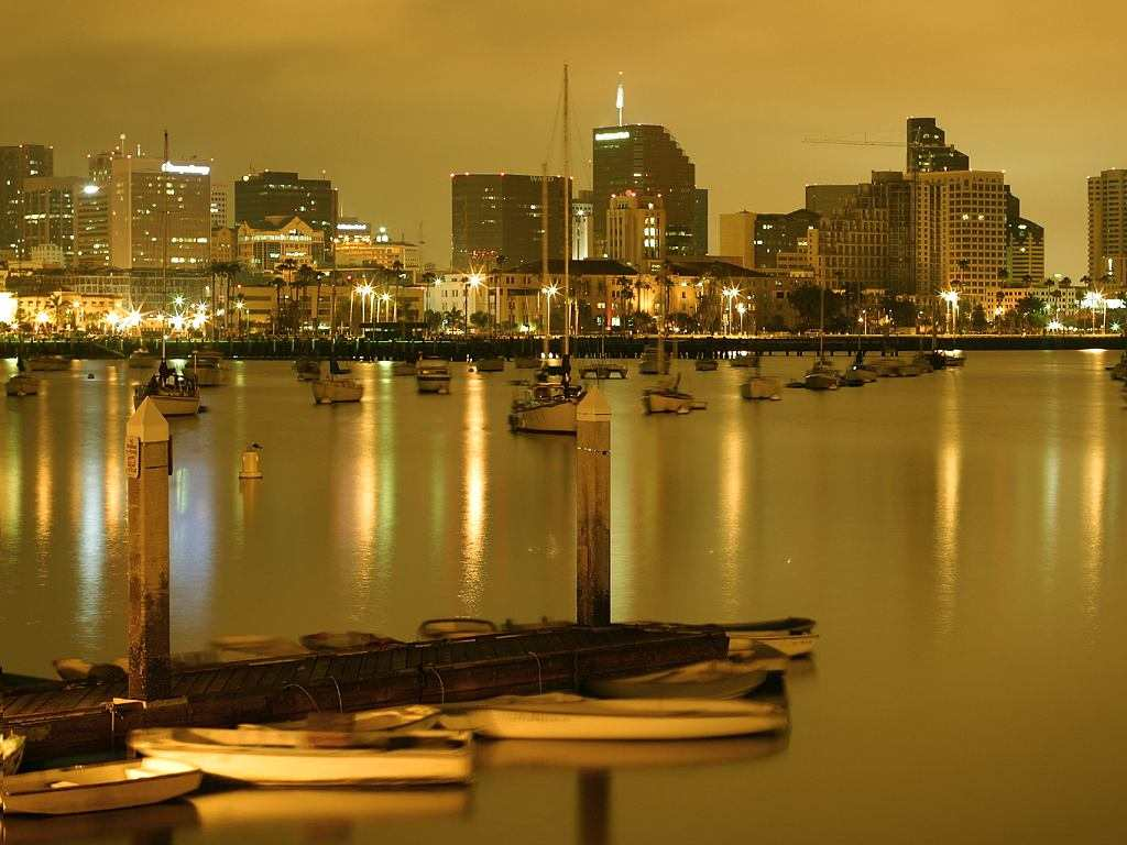 Click to get the codes for this image. Golden Harbor At Night, Cities  Buildings Background, wallpaper or texture for, Blogger, Wordpress, or any web page, blog, desktop or phone.