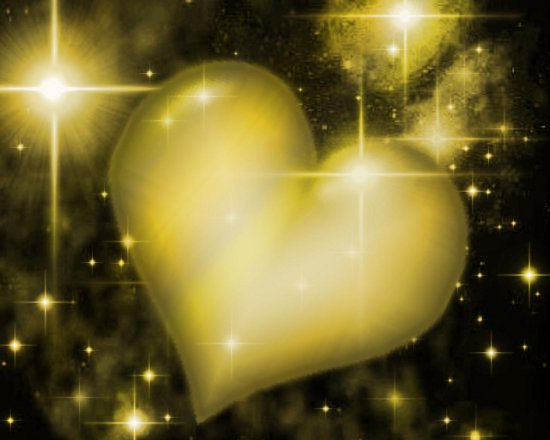 Click to get the codes for this image. Golden Heart With Starry Background, Colors  Yellow and Gold, Hearts Background, wallpaper or texture for, Blogger, Wordpress, or any web page, blog, desktop or phone.