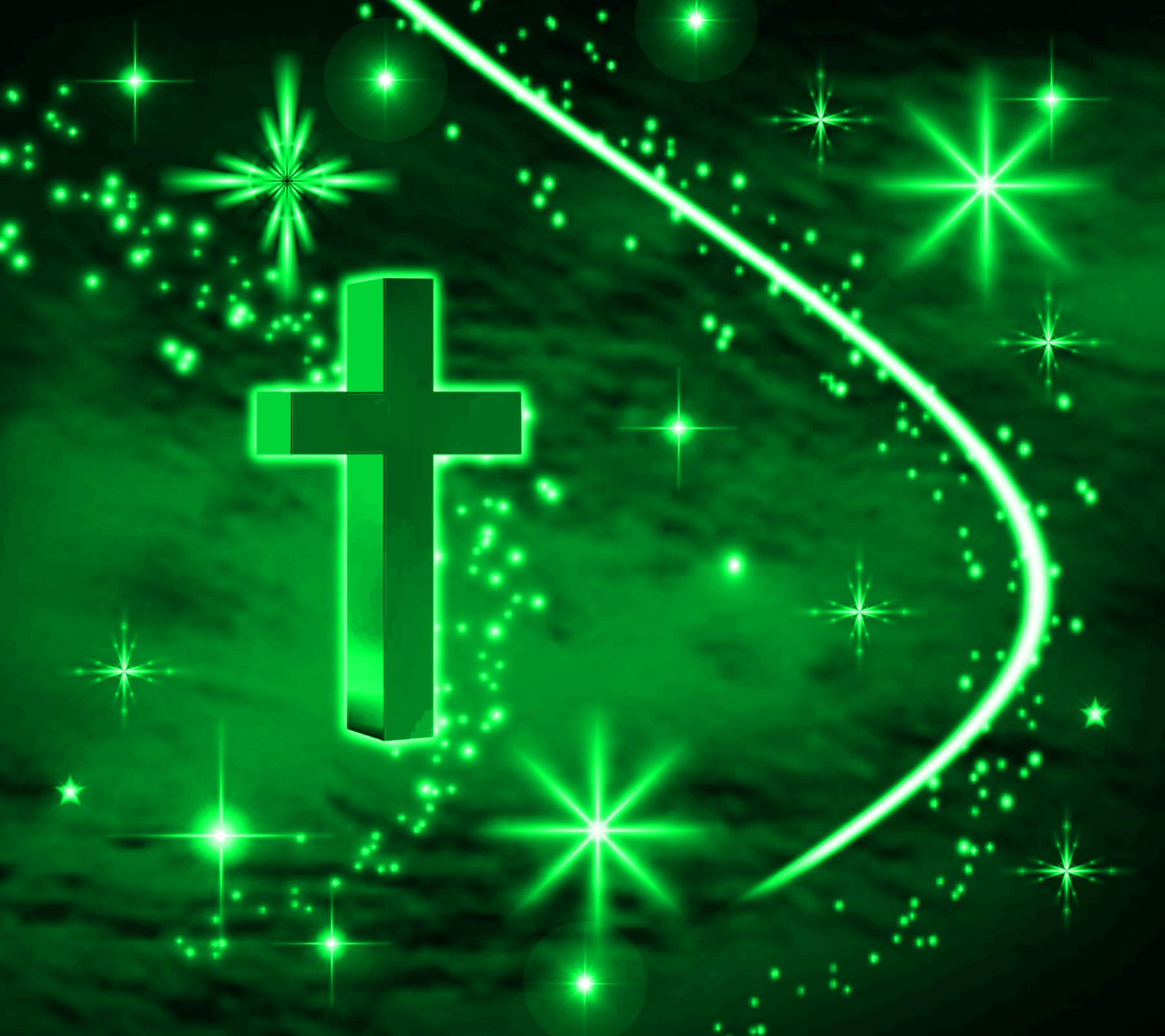 Click to get the codes for this image. Green Cross With Stars Background 1800x1600, Christian, Colors  Green Background, wallpaper or texture for, Blogger, Wordpress, or any web page, blog, desktop or phone.