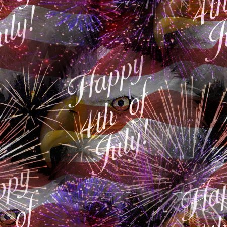 Click to get the codes for this image. Happy 4th Of July Fireworks Flag Eagle Background Tiled, Fourth of July,  New Backgrounds, Fireworks Background, wallpaper or texture for, Blogger, Wordpress, or any web page, blog, desktop or phone.