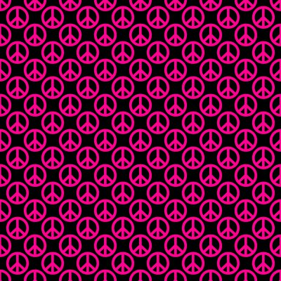 Click to get the codes for this image. Hot Pink Peace Signs On Black Background Seamless, Peace Signs, Colors  Pink Background, wallpaper or texture for Blogger, Wordpress, or any phone, desktop or blog.