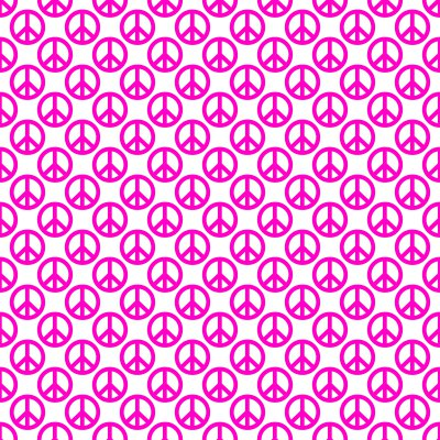 Click to get the codes for this image. Hot Pink Peace Signs On White Background Seamless, Peace Signs, Colors  Pink Background, wallpaper or texture for Blogger, Wordpress, or any phone, desktop or blog.