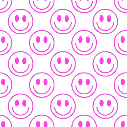 Click to get the codes for this image. Hot Pink Smiley Faces On White Background Seamless, Smiley Faces, Colors  Pink Background, wallpaper or texture for Blogger, Wordpress, or any phone, desktop or blog.