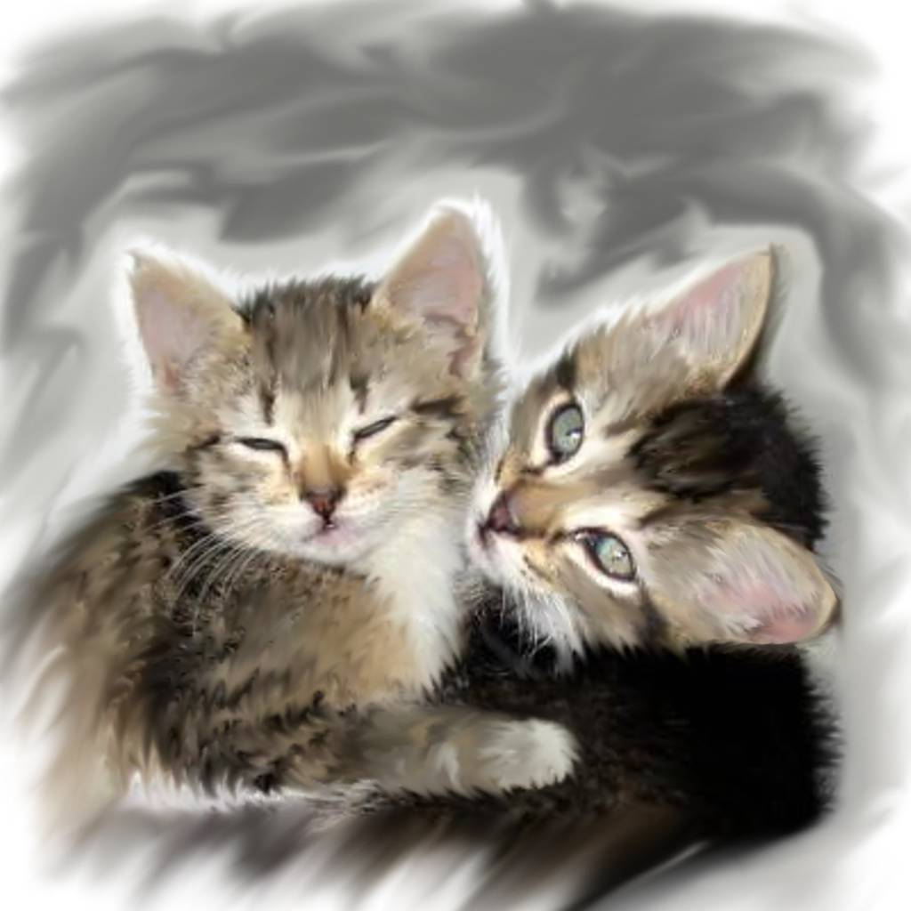 Click to get the codes for this image. Hugging Kittens Painting, Animals  Cats Background, wallpaper or texture for any blog, web page, phone or desktop