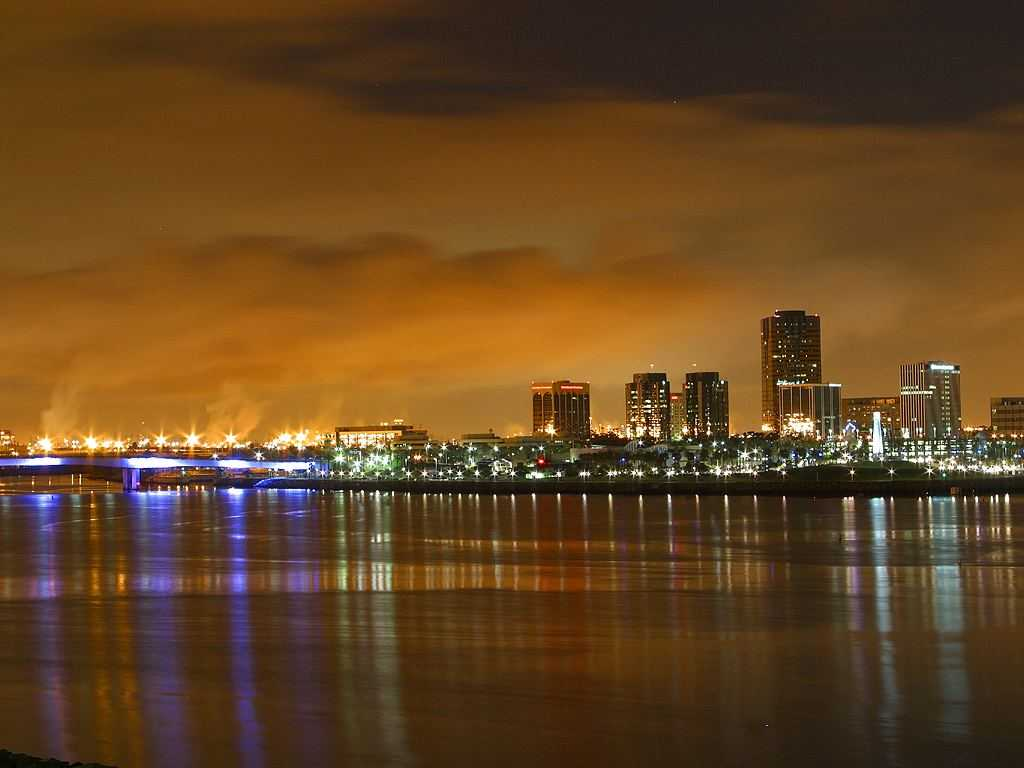 Click to get the codes for this image. Longbeach At Night, Cities  Buildings Background, wallpaper or texture for, Blogger, Wordpress, or any web page, blog, desktop or phone.