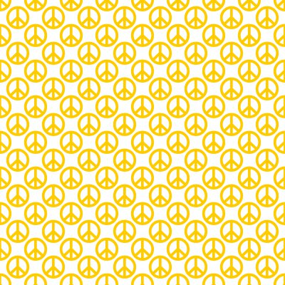 Click to get the codes for this image. Marigold Peace Signs On White Background Seamless, Peace Signs, Colors  Yellow and Gold Background, wallpaper or texture for Blogger, Wordpress, or any phone, desktop or blog.