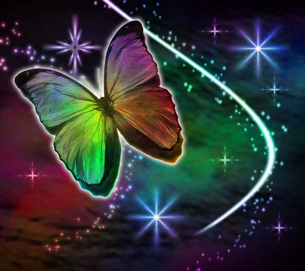 Click to get the codes for this image. Multi Colored Butterfly With Stars Background 1800x1600, Butterflies, Colors  Rainbow Background, wallpaper or texture for Blogger, Wordpress, or any phone, desktop or blog.