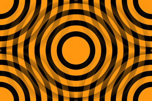 Orange And Black Interlocking Concentric Circles