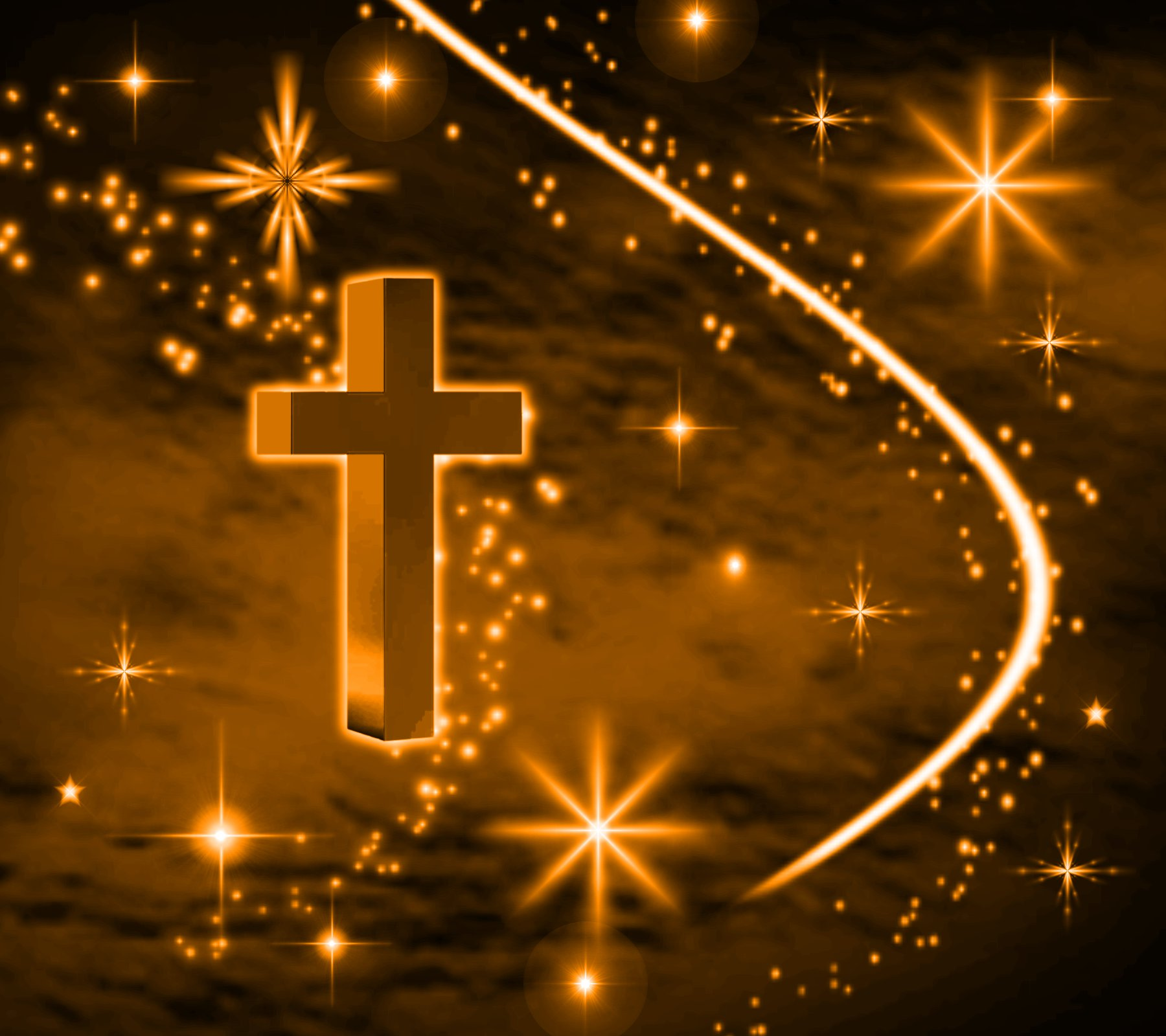 Click to get the codes for this image. Orange Cross With Stars Background 1800x1600, Christian, Colors  Orange Background, wallpaper or texture for, Blogger, Wordpress, or any web page, blog, desktop or phone.