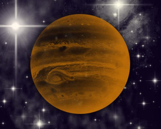 Click to get the codes for this image. Orange Jupiter With Starry Background, Outer Space  Planets Moons etc Background, wallpaper or texture for any blog, web page, phone or desktop