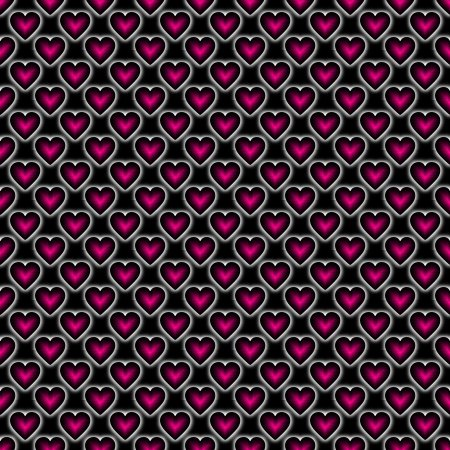 Pink Satin Hearts On Black Background Seamless
