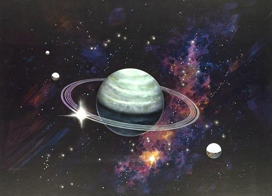 Click to get the codes for this image. Planet With Rings Painting, Outer Space  Planets Moons etc Background, wallpaper or texture for any blog, web page, phone or desktop