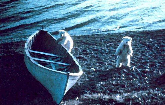 Click to get the codes for this image. Polar Bears With Boat Painting, Animals Background, wallpaper or texture for any blog, web page, phone or desktop