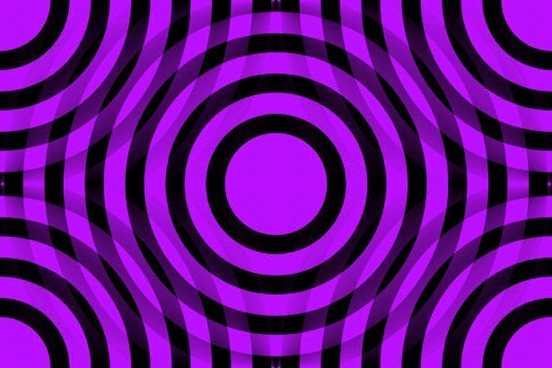 Purple And Black Interlocking Concentric Circles