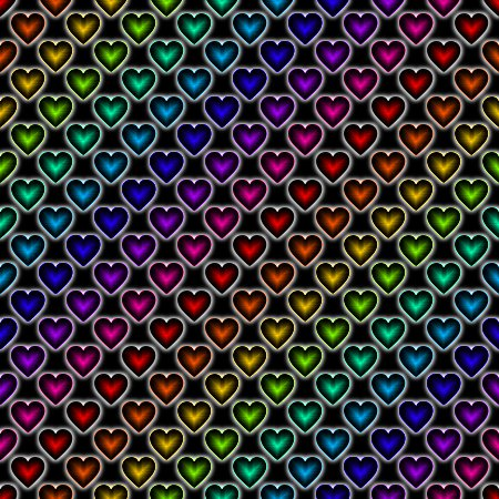 Click to get the codes for this image. Rainbow Satin Hearts On Black Background Seamless, Colors  Rainbow, Hearts Background, wallpaper or texture for, Blogger, Wordpress, or any web page, blog, desktop or phone.