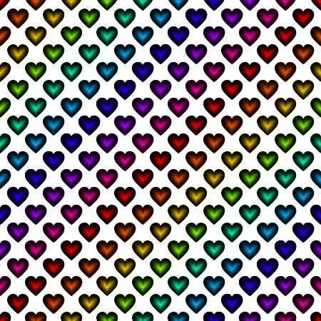 Click to get the codes for this image. Rainbow Satin Hearts On White Background Seamless, Colors  Rainbow, Hearts Background, wallpaper or texture for, Blogger, Wordpress, or any web page, blog, desktop or phone.