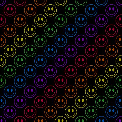 Click to get the codes for this image. Rainbow Smiley Faces On Black Background Seamless, Colors  Rainbow, Smiley Faces Background, wallpaper or texture for Blogger, Wordpress, or any phone, desktop or blog.