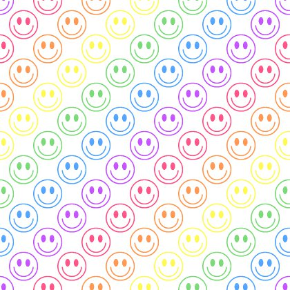 Click to get the codes for this image. Rainbow Smiley Faces On White Background Seamless, Colors  Rainbow, Smiley Faces Background, wallpaper or texture for Blogger, Wordpress, or any phone, desktop or blog.