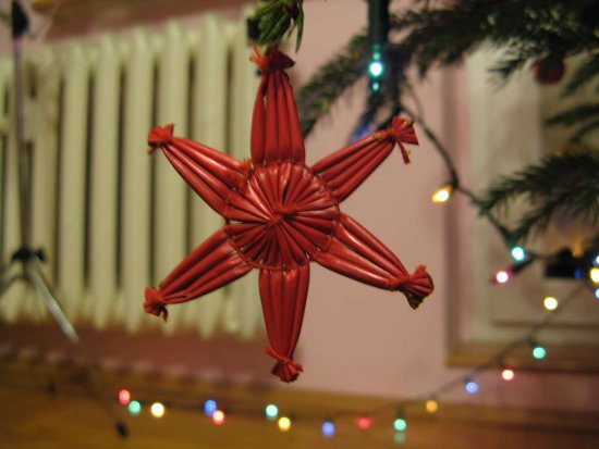 Click to get the codes for this image. Red Straw Star Christmas Tree Ornament, Holidays  Christmas Background, wallpaper or texture for Blogger, Wordpress, or any phone, desktop or blog.