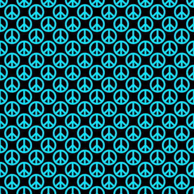Click to get the codes for this image. Teal Peace Signs On Black Background Seamless, Peace Signs, Colors  Aqua Background, wallpaper or texture for Blogger, Wordpress, or any phone, desktop or blog.
