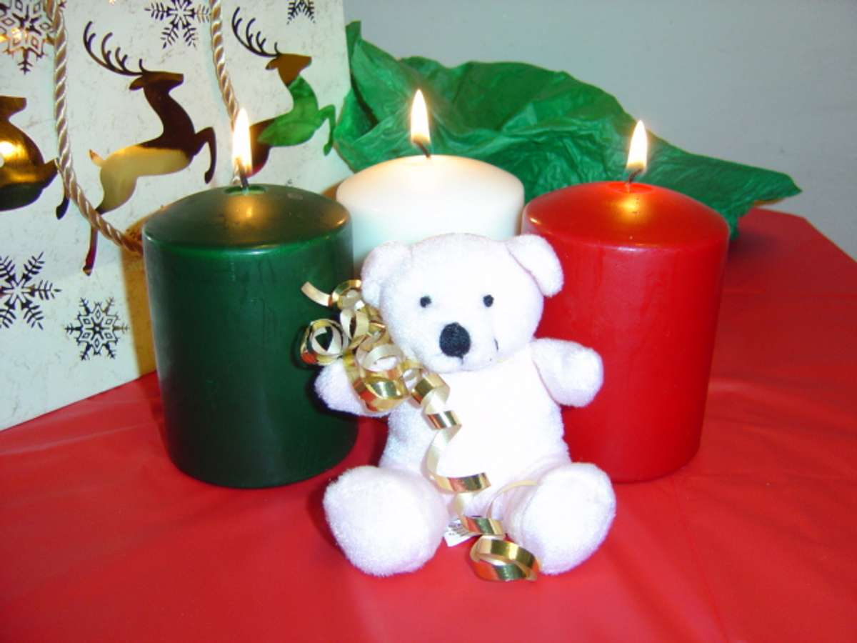 Click to get the codes for this image. Teddy Bear With Christmas Candles, Holidays  Christmas Background, wallpaper or texture for Blogger, Wordpress, or any phone, desktop or blog.