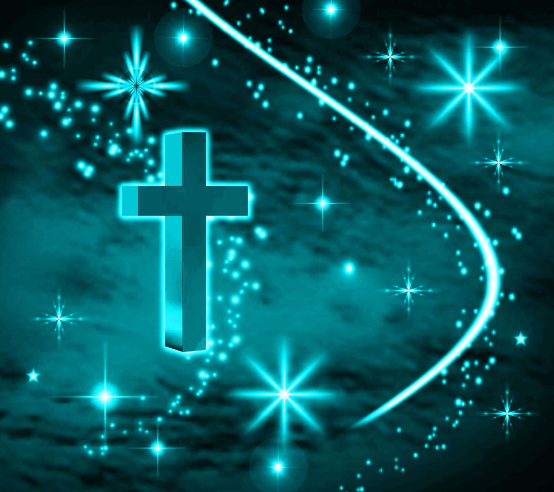Click to get the codes for this image. Turquoise Cross With Stars Background 1800x1600, Christian, Colors  Aqua Background, wallpaper or texture for, Blogger, Wordpress, or any web page, blog, desktop or phone.