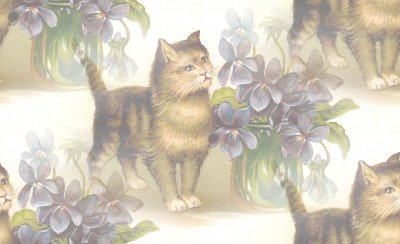 Click to get the codes for this image. Victorian Kitten With Flowers, Animals  Cats Background, wallpaper or texture for any blog, web page, phone or desktop