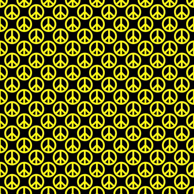 Click to get the codes for this image. Yellow Peace Signs On Black Background Seamless, Peace Signs, Colors  Yellow and Gold Background, wallpaper or texture for Blogger, Wordpress, or any phone, desktop or blog.