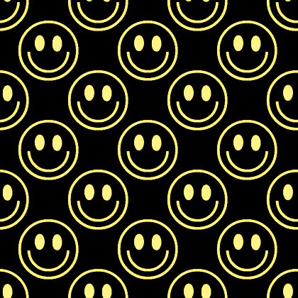 Click to get the codes for this image. Yellow Smiley Faces On Black Background Seamless, Smiley Faces, Colors  Yellow and Gold Background, wallpaper or texture for Blogger, Wordpress, or any phone, desktop or blog.