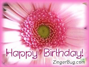 Another HappyBirthday image: (happy_birthday_pink_flower2) for MySpace from ZingerBug.com