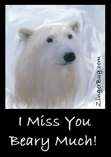 Click to get the codes for this image. Painting of a polar bear. Comment reads: I Miss you Beary Much