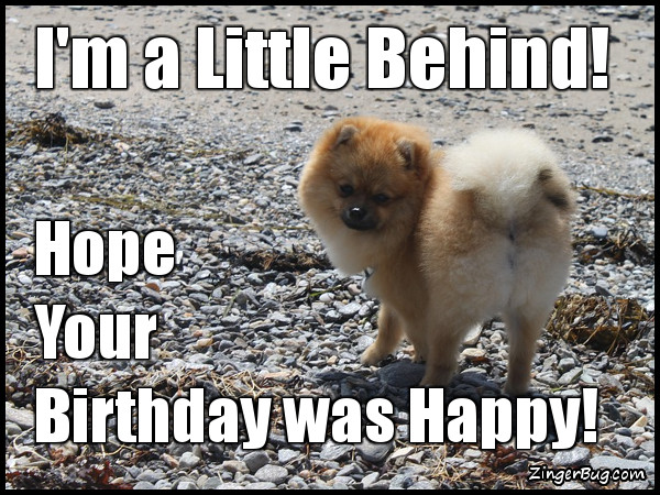 Click to get the codes for this image. A Little Behind Hope Your Birthday Was Happy, Happy Birthday, Happy Birthday, Belated Birthday Free Image, Glitter Graphic, Greeting or Meme for Facebook, Twitter or any forum or blog.