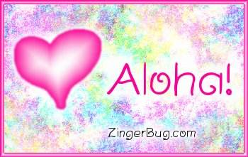 Click to get the codes for this image. Aloha Pink Plaque, Hi Hello Aloha Wassup etc, Hearts Free Image, Glitter Graphic, Greeting or Meme for any Facebook, Twitter or any blog.