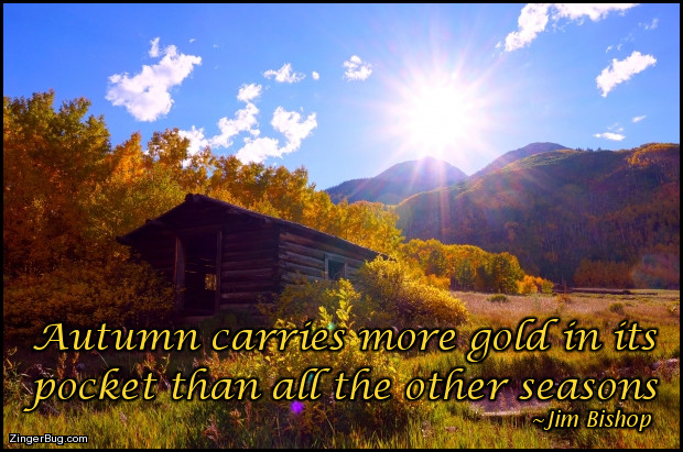 Click to get the codes for this image. This comment features a beautiful rustic photograph of a log cabin in the mountains surrounded by golden aspen trees. The quote is from Jim Bishop and reads: Autumn carries more gold in its pocket than all the other seasons.