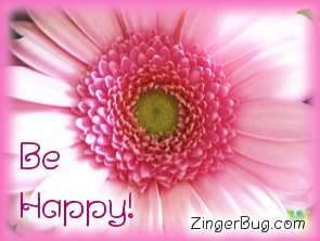 Click to get the codes for this image. Be Happy Pink Flower, Be Happy, Flowers Free Image, Glitter Graphic, Greeting or Meme for Facebook, Twitter or any forum or blog.