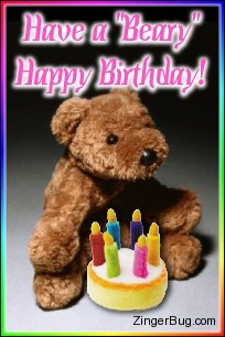 Click to get the codes for this image. Have a Beary Happy Birthday Teddy Bear Photo, Birthday Cakes, Birthday Teddy Bears, Teddy Bears, Happy Birthday Free Image, Glitter Graphic, Greeting or Meme for Facebook, Twitter or any forum or blog.