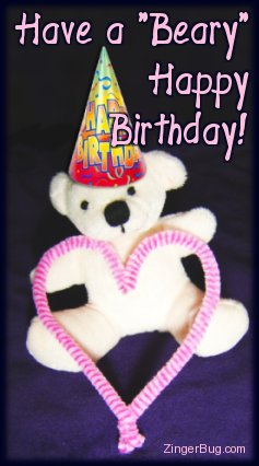 Click to get the codes for this image. Have a Beary Happy Birthday Teddy Bear with Heart, Birthday Hearts, Birthday Teddy Bears, Hearts, Teddy Bears, Happy Birthday Free Image, Glitter Graphic, Greeting or Meme for Facebook, Twitter or any forum or blog.