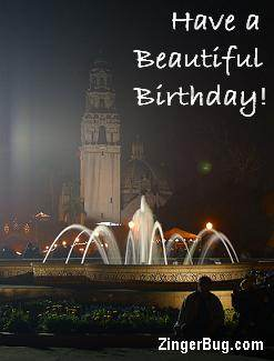 Click to get the codes for this image. Have a Beautiful Birthday Fountain Photo, Birthday Stars, Happy Birthday Free Image, Glitter Graphic, Greeting or Meme for Facebook, Twitter or any forum or blog.