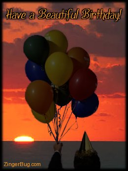 Click to get the codes for this image. Beautiful Birthday Sunset Balloons, Birthday Balloons, Happy Birthday Sunsets, Happy Birthday Free Image, Glitter Graphic, Greeting or Meme for Facebook, Twitter or any forum or blog.
