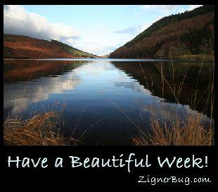 Click to get the codes for this image. Have a Beautiful Week Mountain Lake, Have A Great Week Free Image, Glitter Graphic, Greeting or Meme for any Facebook, Twitter or any blog.