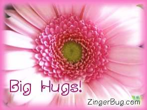 Click to get the codes for this image. Big Hugs Pink Flower, Hugs and Kisses, Flowers Free Image, Glitter Graphic, Greeting or Meme for Facebook, Twitter or any blog.