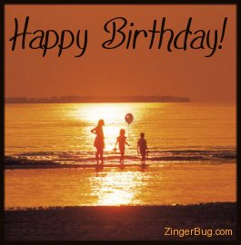 Click to get the codes for this image. Happy Birthday Photo of a Family on the Beach at Sunset, Birthday Balloons, Happy Birthday Sunsets, Happy Birthday, Popular Favorites Free Image, Glitter Graphic, Greeting or Meme for Facebook, Twitter or any forum or blog.