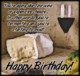Click to get the codes for this image. This funny Happy Birthday comment reads: You're aging like fine wine or expensive cheese... In other words, you're fermenting and you're starting to mold! Happy Birthday!