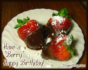 Click to get the codes for this image. Have a Berry Happy Birthday Chocolate Covered Strawberries, Birthday Food not cake, Happy Birthday Free Image, Glitter Graphic, Greeting or Meme for Facebook, Twitter or any forum or blog.